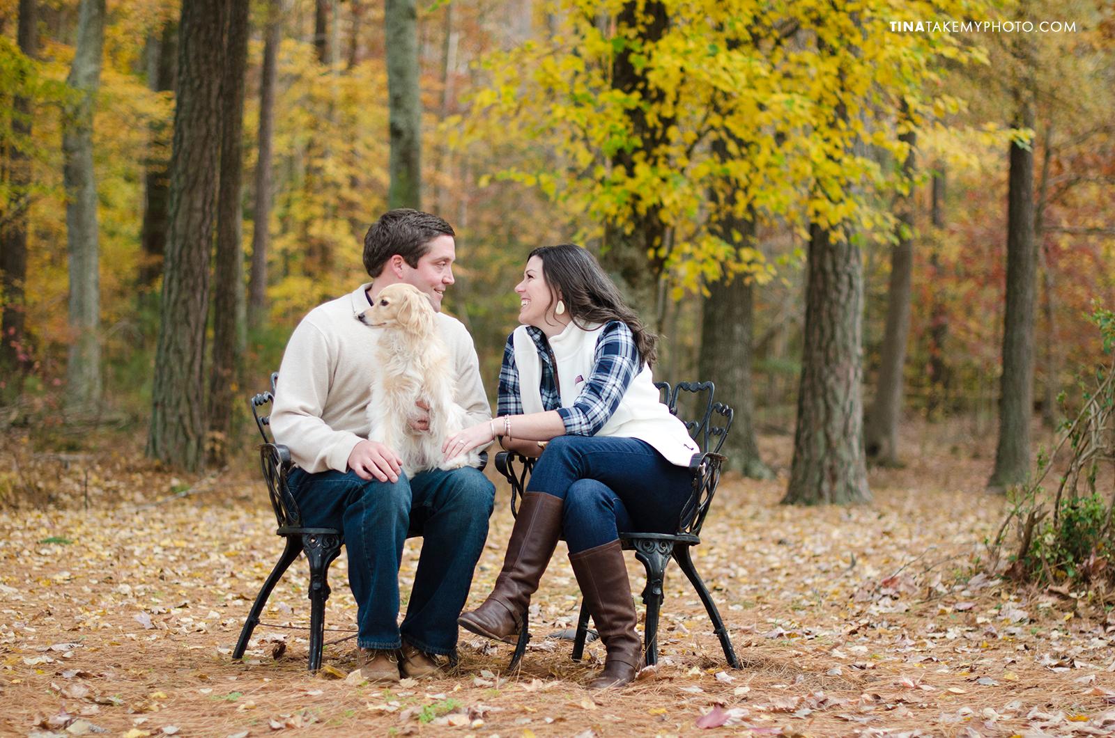 Modlothian-VA-Fall-Engagement-Photographer-Woods-Dog-Chairs