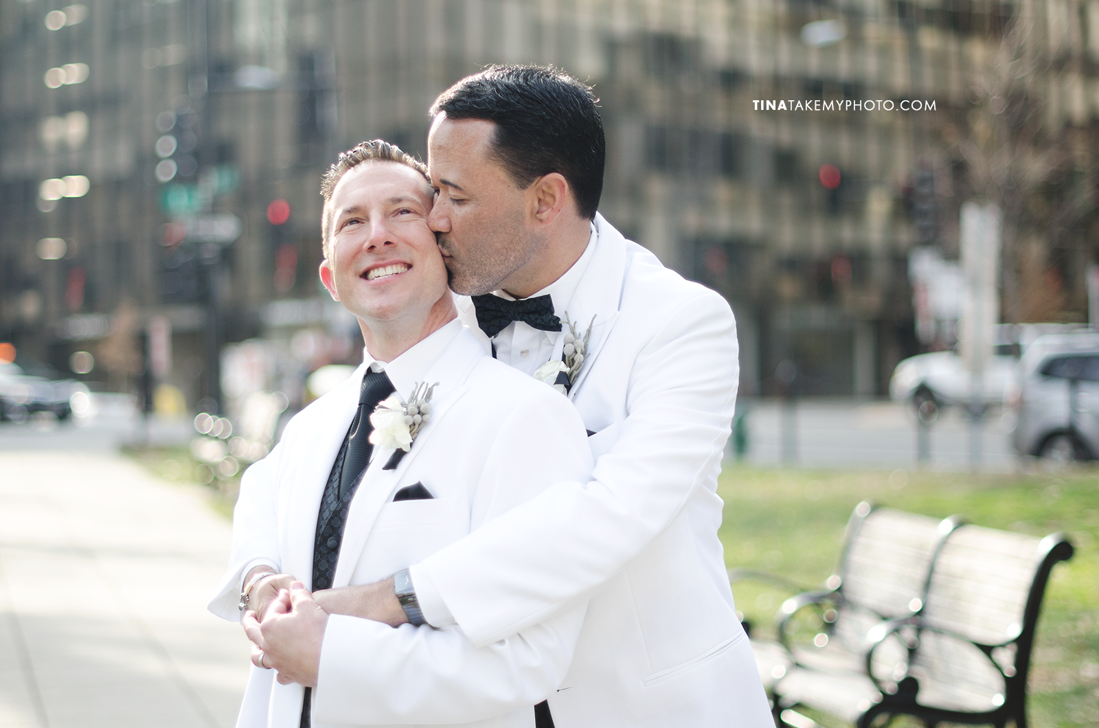 07-Washington-DC-Virginia-Gay-Same-Sex-Wedding-Men-12-13-14-Pose-White-Jackets-Happy-City