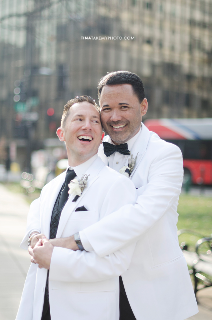 09-Washington-DC-Virginia-Gay-Same-Sex-Wedding-Men-12-13-14-White-Jackets-Laugh-City-Smile