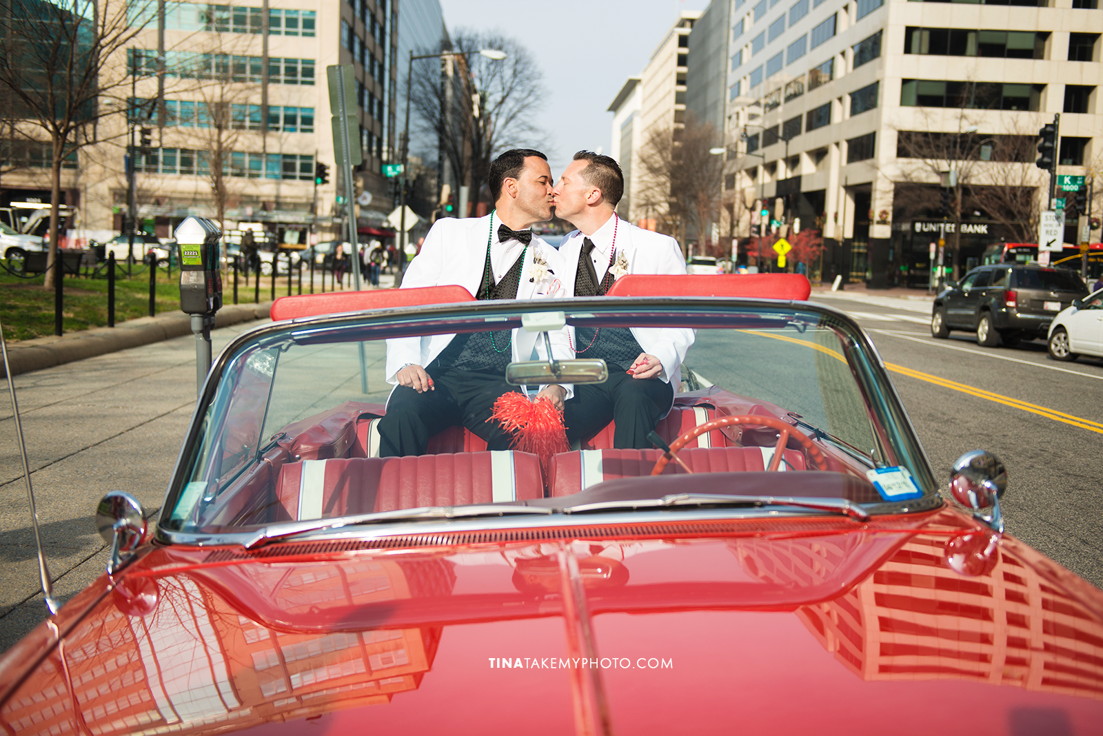 13-Washington-DC-Virginia-Gay-Same-Sex-Wedding-Men-12-13-14-Red-Covertable-Kiss-City-Street-Photographer