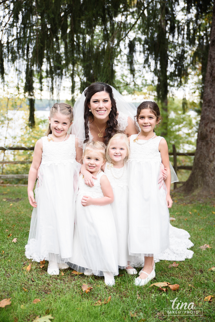 bride-flower-girls-bridal-party-cute-Richmond-virginia-wedding-photographer-tina-take-my-photo-fall-celebrations-reservoir-midlothian
