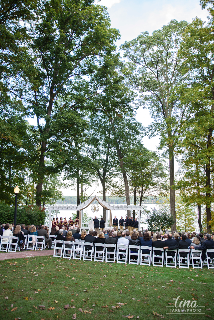 ceremony-location-Richmond-virginia-wedding-photographer-tina-take-my-photo-fall-celebrations-reservoir-midlothian-lake-trees-outdoor