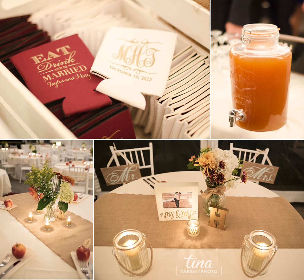 reception-apples-cider-bourbon-koozies-favor-eat-drink-centerpiece-Richmond-virginia-wedding-photographer-tina-take-my-photo-fall-celebrations-reservoir-details