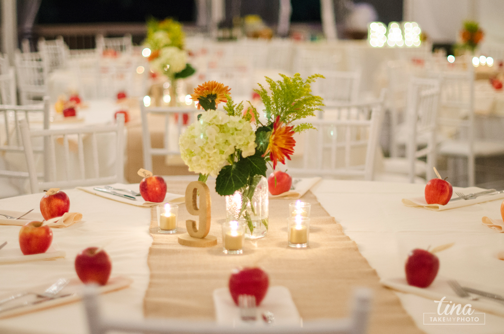 reception-table-centerpiece-apples-burlap-flowers-Richmond-virginia-wedding-photographer-tina-take-my-photo-fall-celebrations-reservoir-midlothian