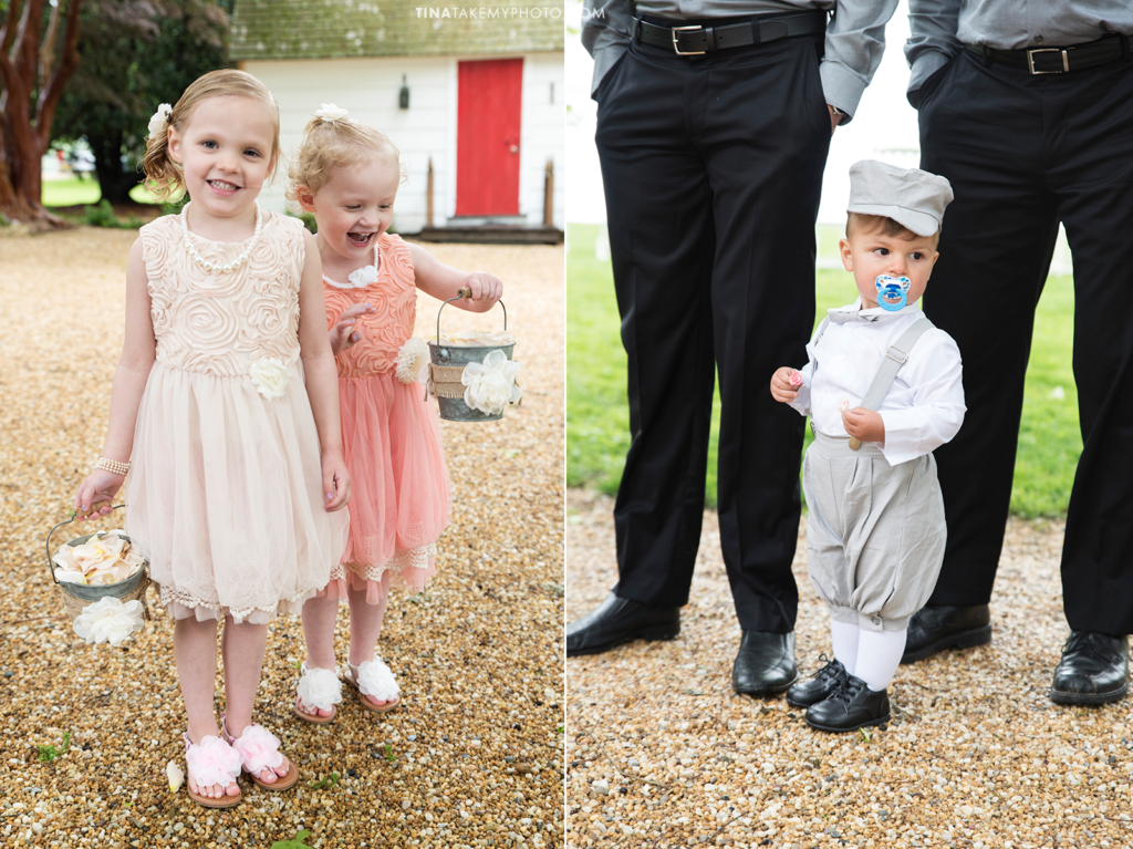 ridge-maryland-md-rainy-wedding-photographer-winery-slack-woodlawn-lake-outdoor-spring-romantic-bridal-party-blush-pinks-flower-girl-ring-bearer-pageboy