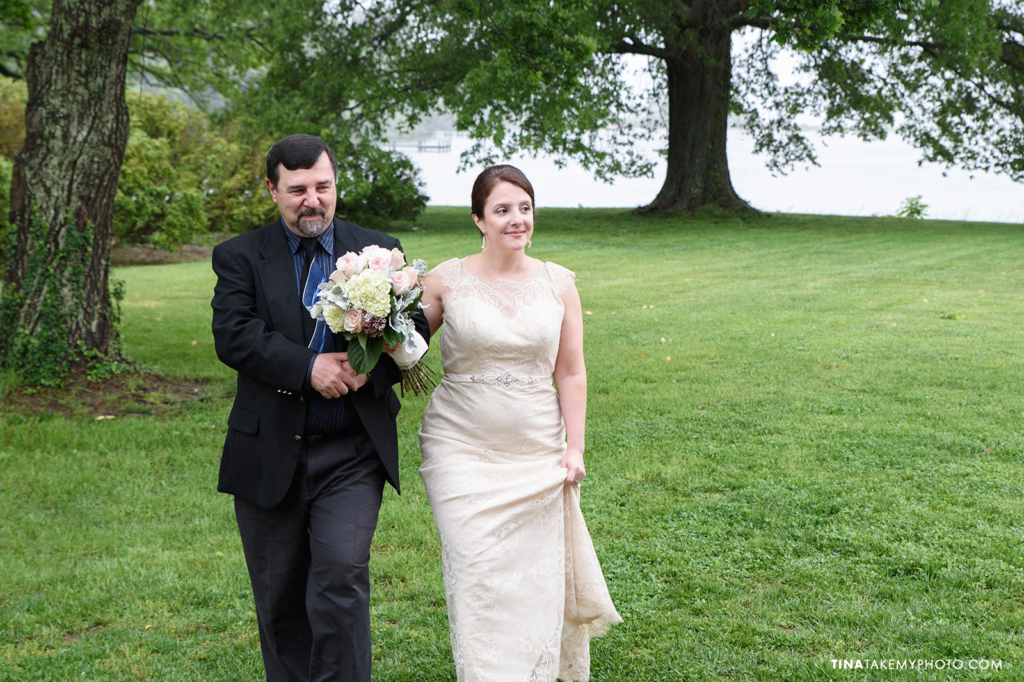 ridge-maryland-md-wedding-photographer-winery-slack-woodlawn-spring-rain-romantic-rustic-waterfront-lake-barn-ceremony-site-bride-walk-father-aisle-trt_1088